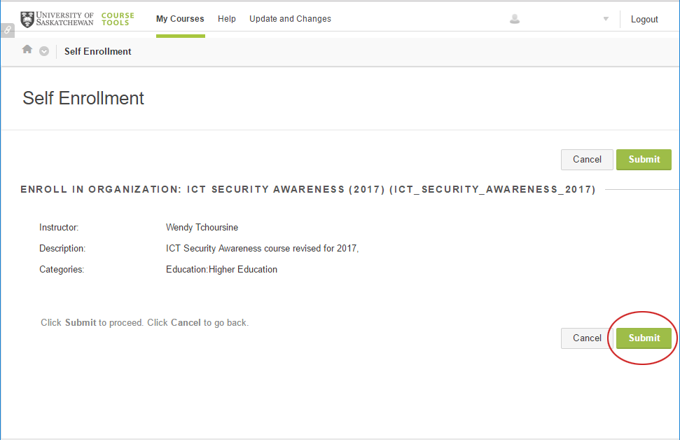 IT security course self enrollment page